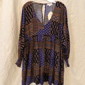 Velzera boho print tunic dress smocking New Plus